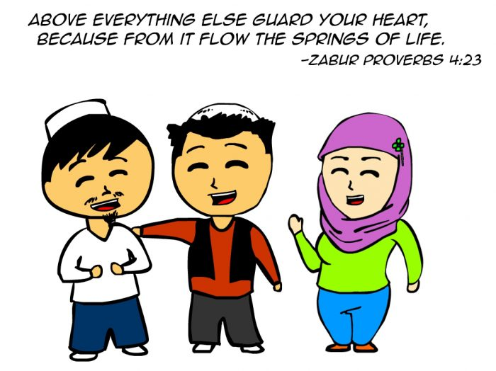 "Kitab Comics ""Above everything else guard your heart, because from it flow the springs of life."" -Zabur Proverbs 4:23"